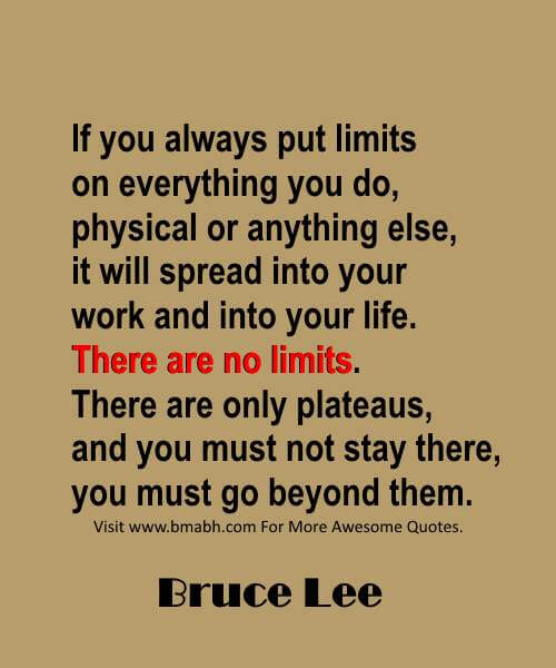 There are no limites quotes by Bruce Lee