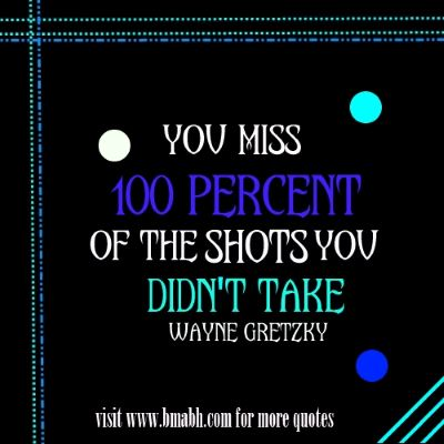 Motivational Change quotes on www.bmabh.com - You miss 100 percent of the shots you never take
